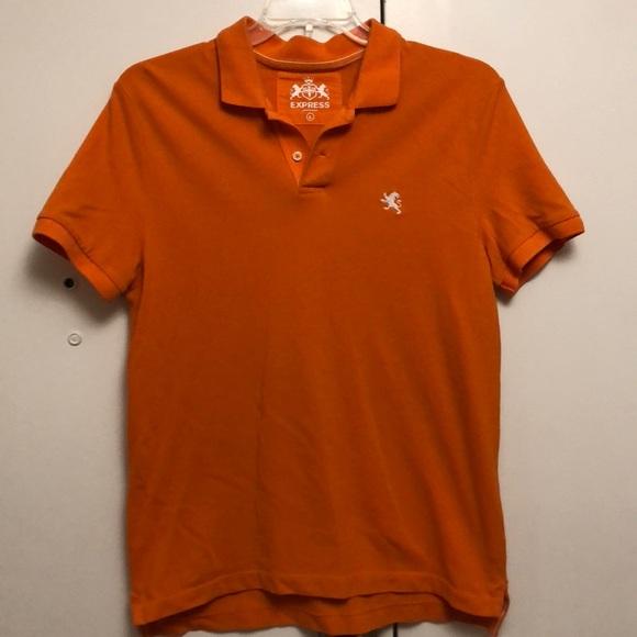 Express Shirts Mens Polo In Orange With White Logo Poshmark